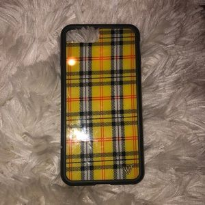 Yellow plaid wildflower iPhone 8+ case